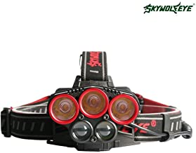 7 LED Headlamp, 6 Modes Waterproof Headlight 50W Rechargeable 18650 Batteries Included … (Red Circle White Light)