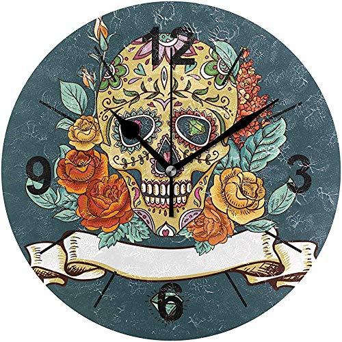 L.Fenn Wandklok, rond, vintage patroon, prachtige schedel dag van de doden, diameter silent, decoratief voor home kantoor, keuken, slaapkamer