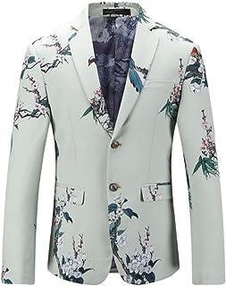 HZCX FASHION Men's White Printed Wedding Party Bridegroom Slim Fit Dress Blazer