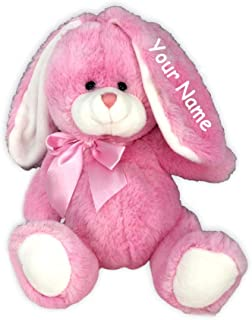 Fiesta Toys Personalized Pink Sitting Easter Bunny Big Belly and Bow for Girls Plush Stuffed Animal Toy with Custom Name