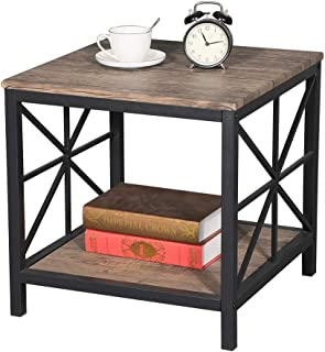 Aingoo X-Design Industrial Sofa End Table Wood Side Night Stand Table with Metal Frame and Storage Shelf for Bedroom Living Room Brown