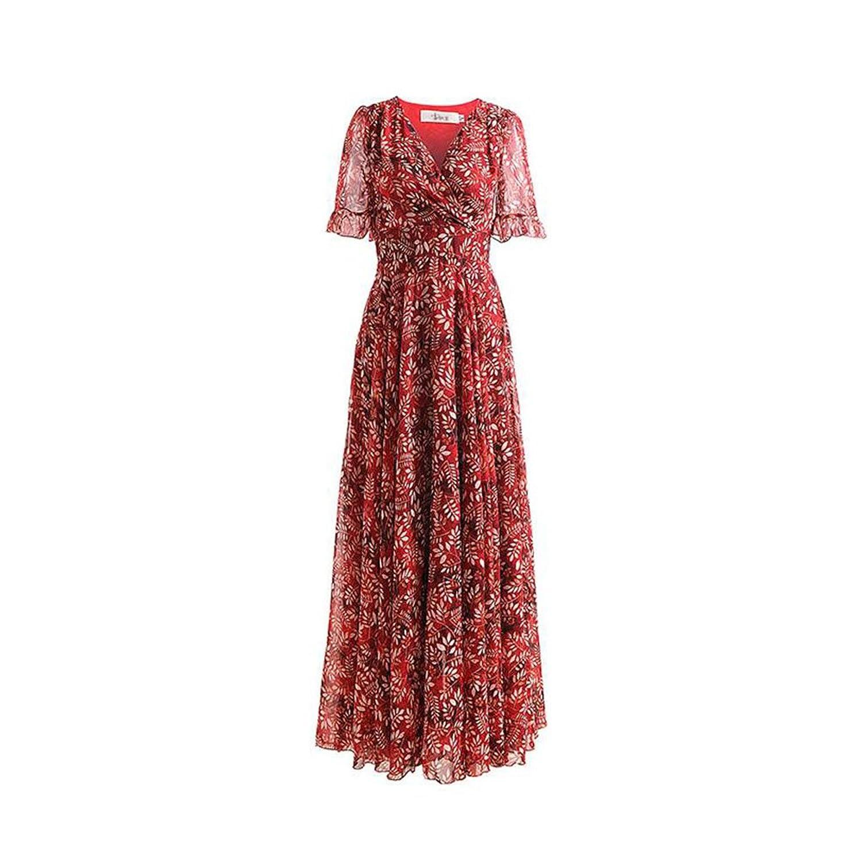 WYYY ドレス 夏の季節 ロングスカート 半袖 V襟 フラッシング 印刷 レッド セレブリティ シフォンドレス ビーチスカート (サイズ さいず : L l)