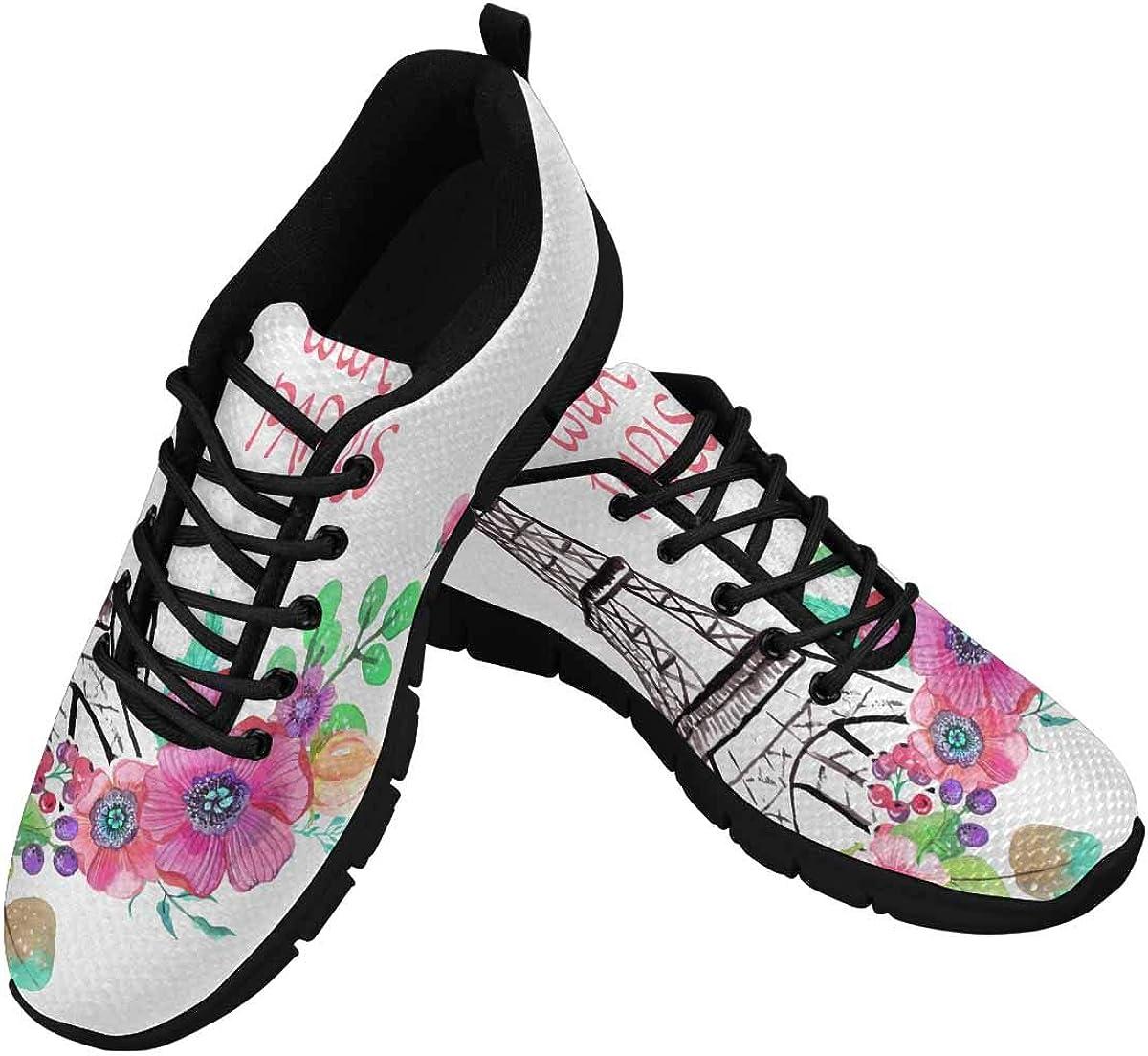INTERESTPRINT Eiffel Tower Flowers Love Paris Women's Athletic Mesh Breathable Casual Sneakers
