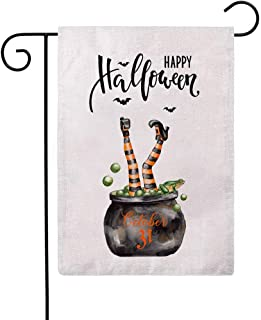 Happy Halloween Decorative Garden Flag Witches Brew Cauldron with Witch Feet/Black Bat Double Sided Burlap Garden Flags 12...