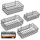 INCLY 4 Pack Pegboard Baskets Bins Set, 4 Size Black Metal Shelves Hooks to 1/4