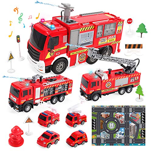 CUTE STONE 7 Pack Realistic Fire Trucks with Shooting Water Function Fireman Toy Firetrucks with Sound and Light Car Carrier Truck Pull Back Cars Push and Go Truck Friction Powered Vehicles