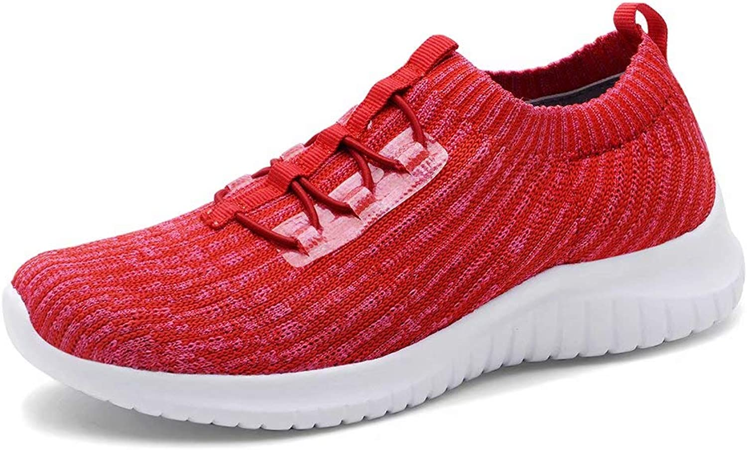Konhill Women's Lightweight Athletic Running shoes Walking Casual Knit Workout Sneakers, Red, 40