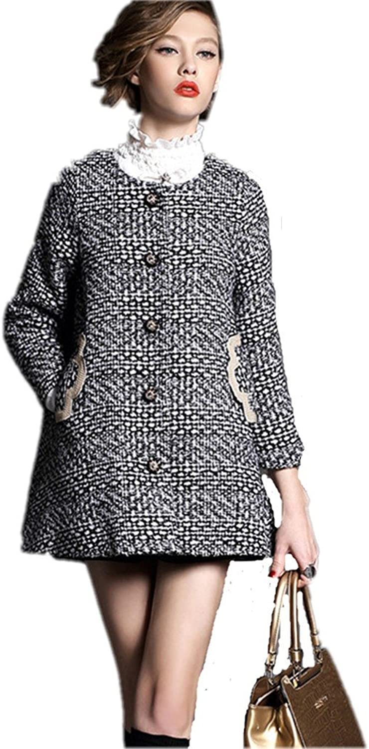 Autumn And Winter Women Loose Thick Houndstooth Single Breasted Wool Long Coat