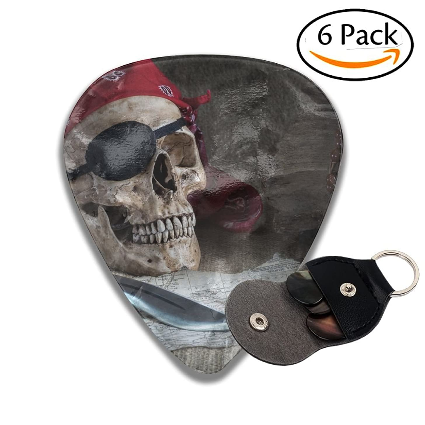Wxf Still Life Pirate Skull With Knife Compass And Pocket Watch On Floor Stylish Celluloid Guitar Picks Plectrums For Guitar Bass .71mm 6 Pack