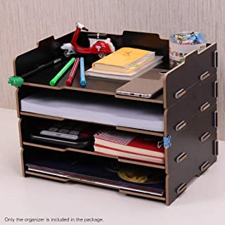 Yiherone Wood Desk Book File Organizer Originative Document Holder Letter Tray 4 Layers Multi-Layer Storage Box Rack for Office School Dwelling(Black) New (Color : Black)
