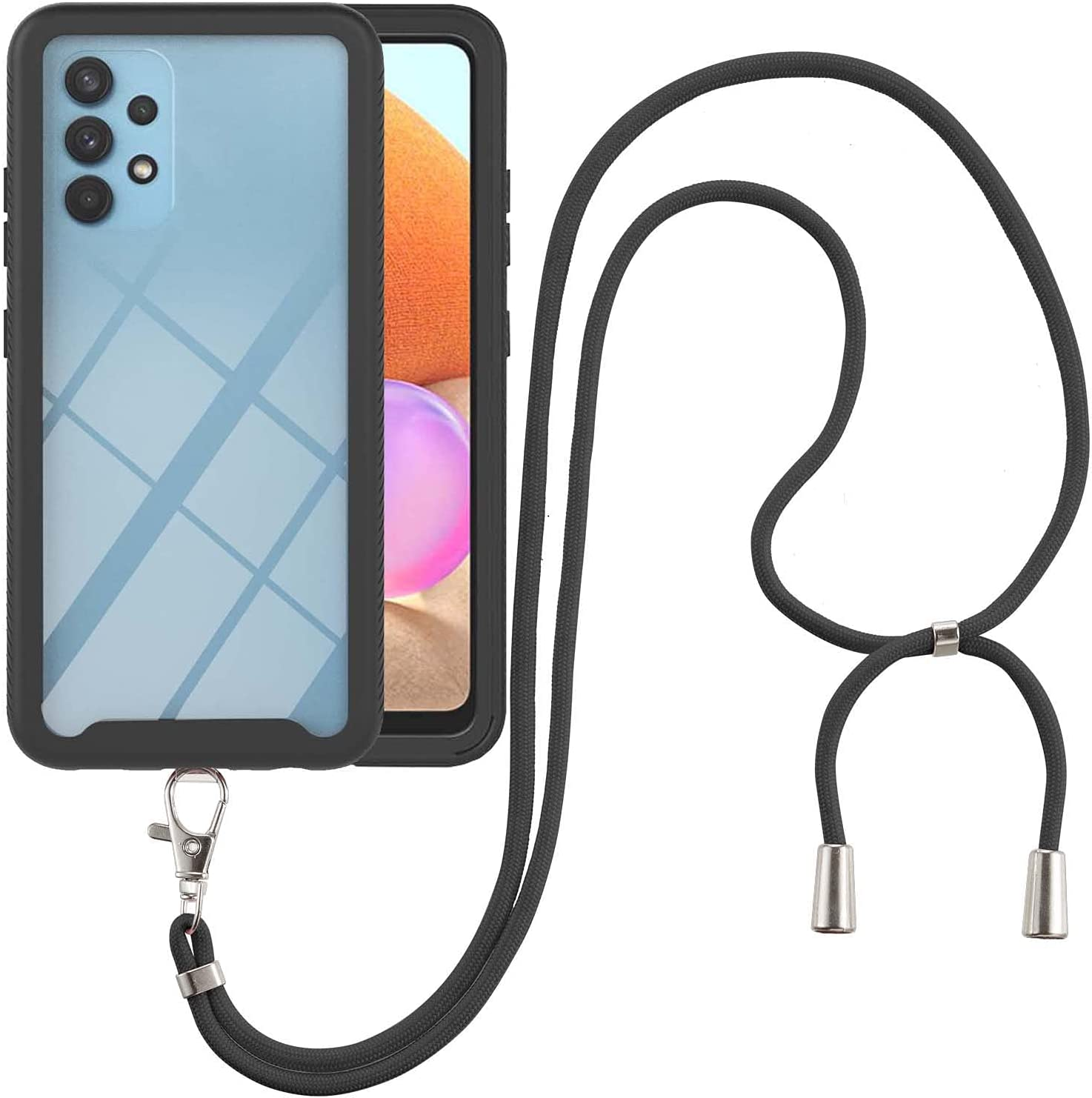 Samsung A32 4G Case, EabHulie Transparent Back No-Slip Bumper with Adjustable Crossbody Lanyard Strap Case, Shockproof Full Body Protection Cover for Samsung Galaxy A32 4G Black