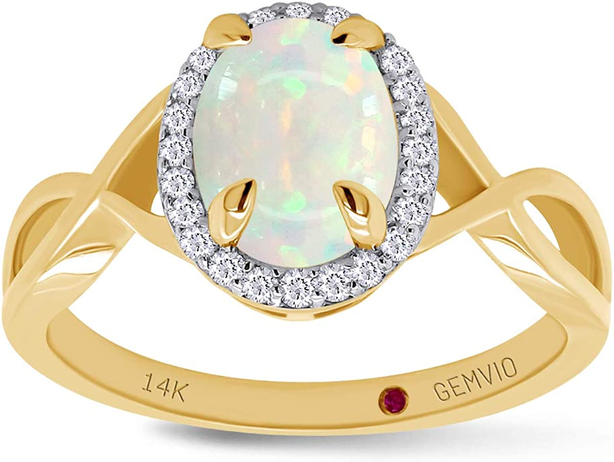 GEMVIO Collection 1 CTTW 6X8MM Oval Cut Natural Opal Gemstone and Diamond Twist Shank Engagement Wedding Anniversary Ring in 18K, 14K or 10K Solid Gold Jewelry For Women
