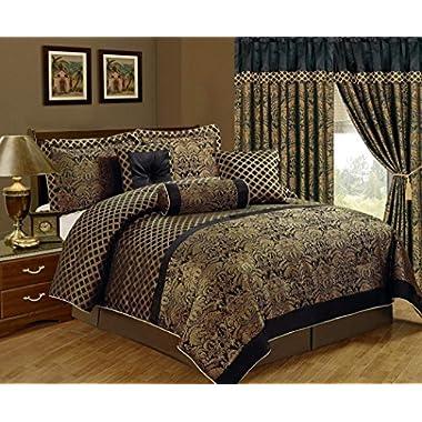 Chezmoi Collection 7-Piece Lisbon Jacquard Floral Comforter Set, California King, Black/Gold