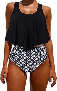 Women's Ruffle Bikini Swimsuit High Waisted Bottom Plus Size Swimwear Tankini