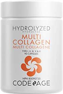 Codeage Multi Collagen Protein Capsules, Type I, II, III, V, X, Grass Fed & Hydrolyzed Collagen Pills Supplement, All in O...