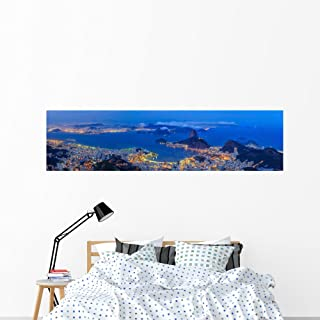 Wallmonkeys WM361844 Rio De Janeiro City at Twilight Wall Decal Peel and Stick Graphic (72 in W x 18 in H)