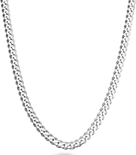 Solid 925 Sterling Silver Italian 5mm Diamond Cut Cuban Link Curb Chain Necklace for Women Men, 16, 18, 20, 22, 24, 26, 30 Inch Made in Italy
