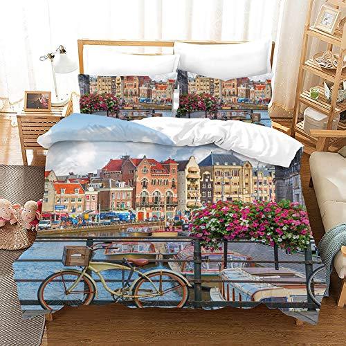 QIAOJIN Juego de ropa de cama con diseño de la Torre Eiffel, estilo retro, romántico, ciudad, creatividad francesa, ropa de cama de 2/3 piezas, para hombres y mujeres (b,200 x 200)