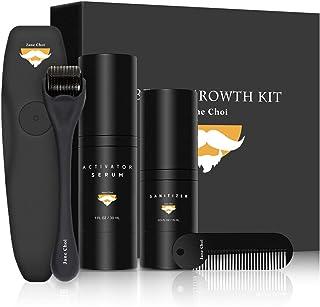Jane Choi Beard Growth Kit, Beard Derma Roller Beard Oil Growth Beard Comb Beard Roller Sanitizer 4 Pcs Facial Hair Growth...