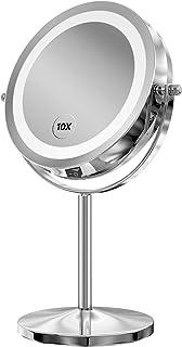 آینه آرایش روشنایی ، 7 اینچ LED Vanity Swivel Mirror 1x / 10x بزرگنمایی آینه دو طرفه با باتری ایستاده