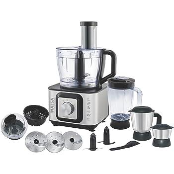 Inalsa Food Processor INOX 1000-Watt With Blender Jar / 304 Grade SS Dry Grinding / Chutney Jar / 12 Accessories | 2 Yr Warranty on Motor |Centrifugal/ Citrus Juicer | (Black/Silver)