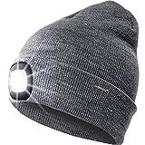 OMOUP 4 LED Stirnlampe Beanie Mütze, Winter warme Beanie Hut Hände frei beleuchtete Beanie Mütze mit (Grau)