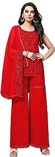 Astha Bridal Georgette Sharara Suit (AB-237; Red; Full_Stitch)