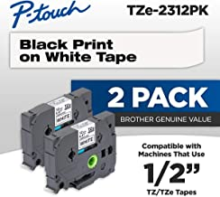 Brother P-Touch TZe2312PK 1/2 - inch Standard Laminated Tape, Black on White, 26.2 Feet (2-Pack)