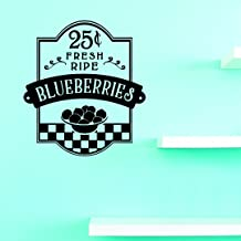 """Design with Vinyl 1 Jer 1845 1 Hot New Decals 25 Cents Fresh Ripe Blueberries Wall Art Size: 10 Inches x 20 Inches Color, 10 x 20"""", Black"""