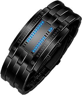 WaiiMak Luxury Men's Stainless Steel Date Digital LED Bracelet Sport Watches