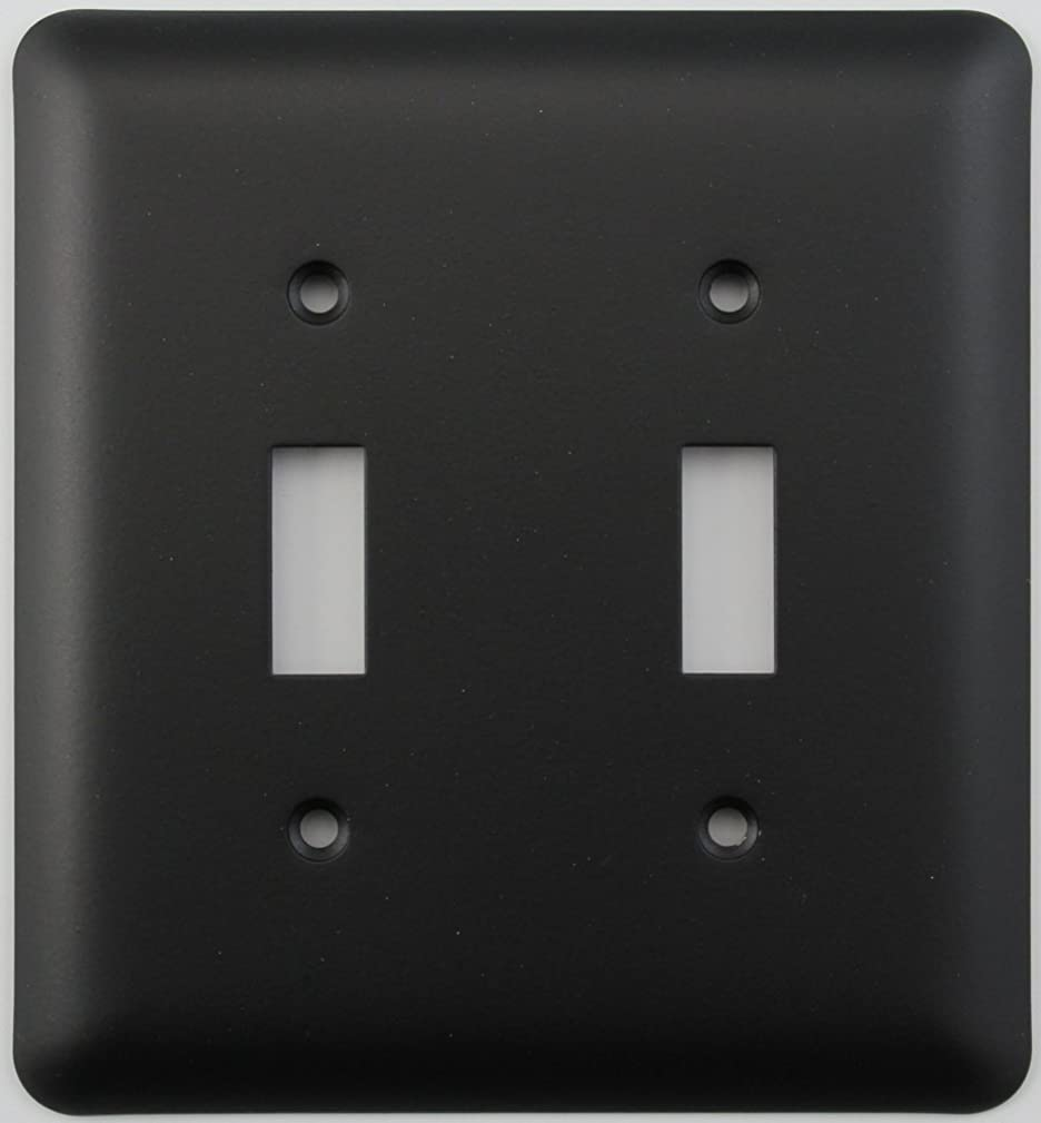 Classic Accents Rounded Black 2 Gang Toggle Switch Plate