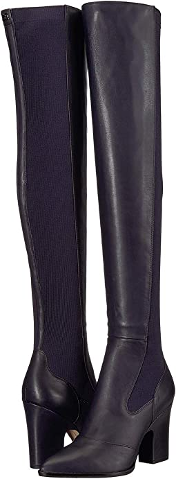 27392898e38 Baltic Navy Modena Calf Leather Ribbed Stretch Knit