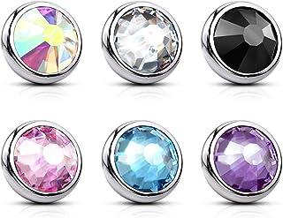 Paula & Fritz® - Terminale a forma di ancora, in acciaio chirurgico 316L, con cristalli di diversi colori