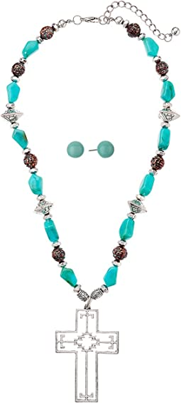 M&F Western - Turquoise Aztec Cross Necklace/Earrings Set