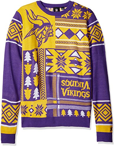 NFL MINNESOTA VIKINGS PATCHES Ugly Sweater, Small>
