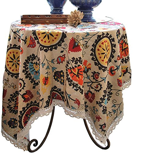 Aothpher Modern Boho Floral Jacquard Washable Tablecloths with Lace for Dining Table, 35x35 Inches