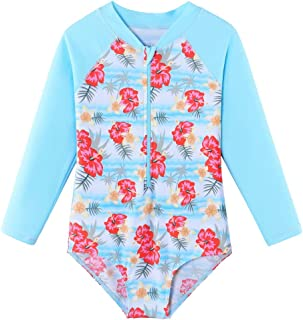 BAOHULU Girls Swimsuits One Piece Long Sleeve Rashguard UV 50+ Swim Shirt Kids Zipper Bathing Suit Swimwear