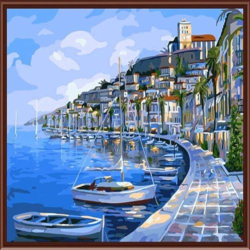 Precio por piso HABU Auto-Completo Pintura Digital Sin Marco azul Mar Ciudad 40 40 40  50Cm Pintura Materias Primas  tienda hace compras y ventas