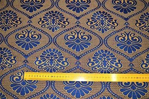 salamon.tex Möbelstoff Bezugsstoff Polsterstoff Barock Vintage Sofa Ranken Ornament (blau/Braun)