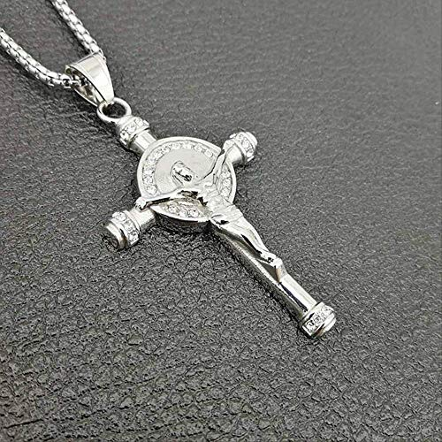 Micro Paved Shiny Zircon Bling Inri Crucifix Jesus Cross Pendant Necklace Gold 316l Stainless Steel Men Hip Hop Rock Jewelry 60cm