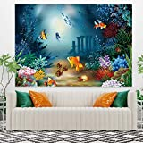 Leowefowa 59.1'x51.2' Underwater World Aquarium Tapestry Swiming Fishes Coral Tapestry Wall Hanging Home Decorations Modern Wall Art Marine Life Wall Blanket Kids Room Bedroom Dorm Decor