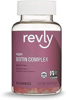 Amazon Brand - Revly Vegan Biotin Complex - Hair, Skin, Nails - 60 Gummies (2,500 mcg Biotin per serving, with Vitamin C & E), Gluten Free, Non-GMO