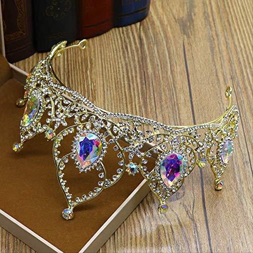Nieuwe Bruid Kroon Europese en Amerikaanse Populaire Gekleurde Kristal Grote Kroon Bruidsjurk