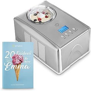 comprar comparacion Máquina para hacer helados caseros EMMA, Ice cream maker, Heladera con compresor 1,5 l, recipiente extraíble y pantalla LC...