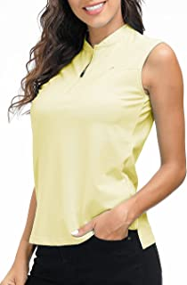 AIRIKE Golf Polo Shirts for Women Slim Fit Woman Sleeveless Sports Shirts Quick Dry Athletic Tank Tops for Tennis Work