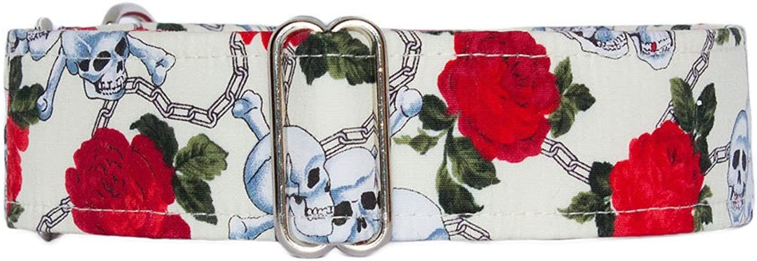 Noddy & Sweets Martingale Collar 1.5  Width [Skulls & pinks Cream]  Large