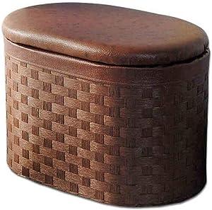 Dall Fußhocker Polsterhocker Lagerung Schuh Bench Holzrahmen Sofa Hocker Papier Rattan Weben Wohnzimmer Multifunktion (Farbe : Brown, größe : 50×30×35cm)