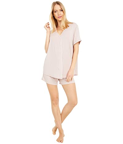 Barefoot Dreams Luxe Milk Jersey PJ Top and Boxer Set (Faded Rose) Women
