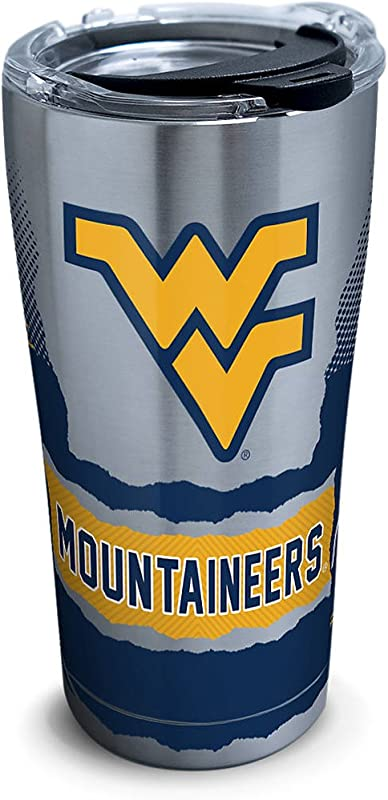 Tervis 1269216 West Virginia Mountaineers Knockout Stainless Steel Tumbler With Clear And Black Hammer Lid 20oz Silver