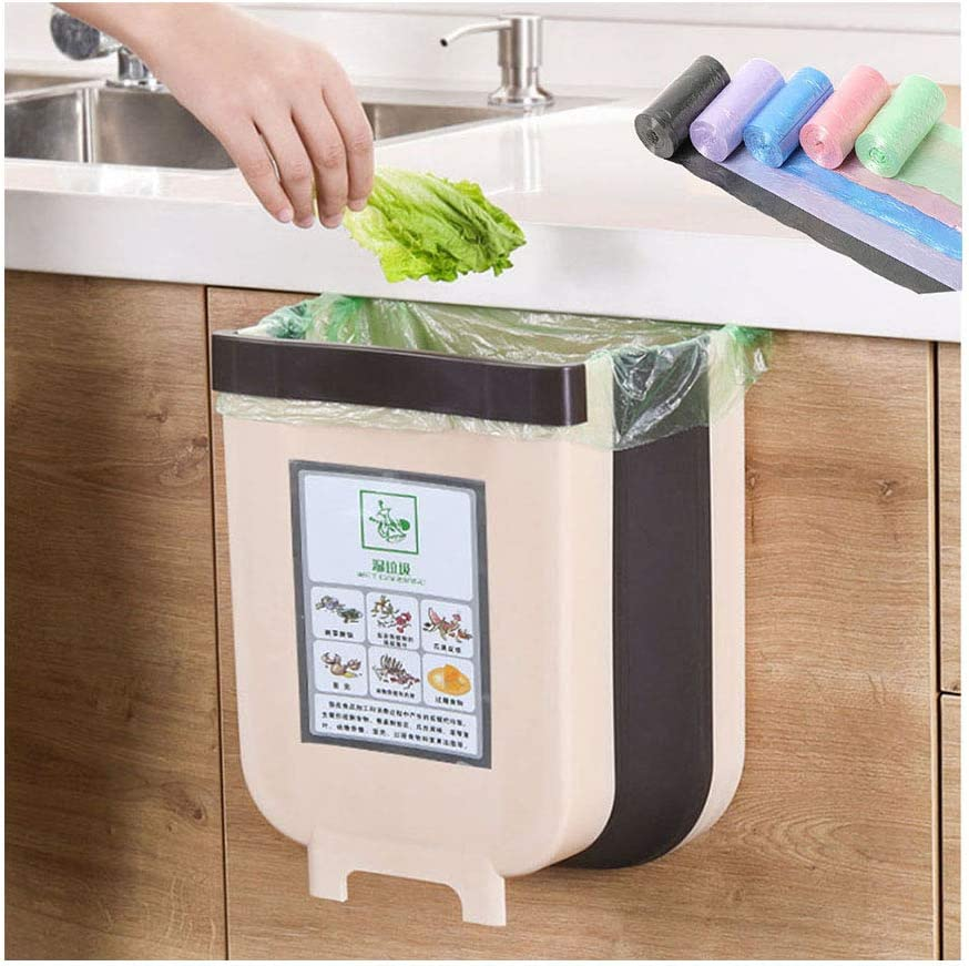 HorBous Kitchen Hanging Trash Can, Foldable Trash Bin, Small Portable Collapsible Waste Bins for Cabinet, Car Bedroom+30 Garbage Bags (Brown): Home & Kitchen